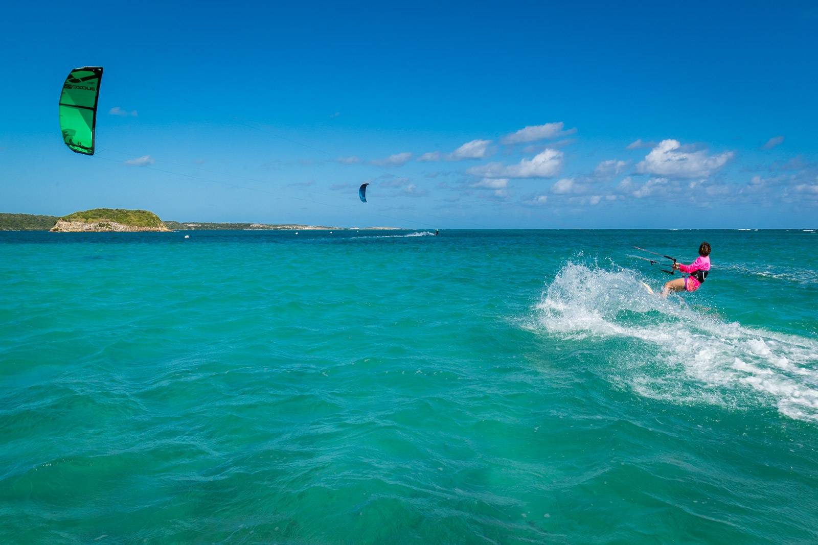 irene is kitesurfing in antigua
