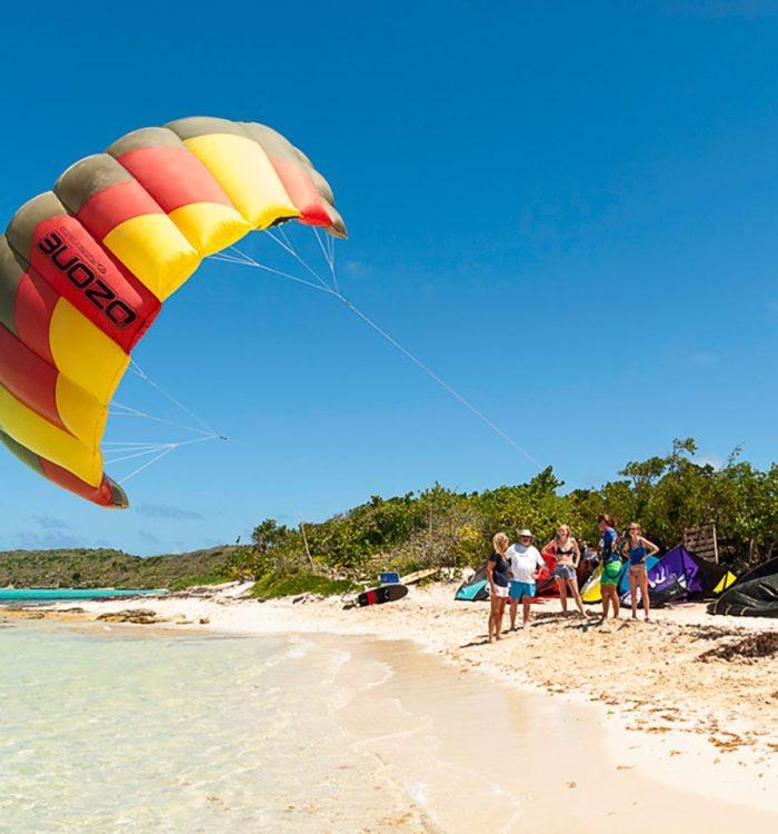kitesurf test lesson at the beach in the caribbean