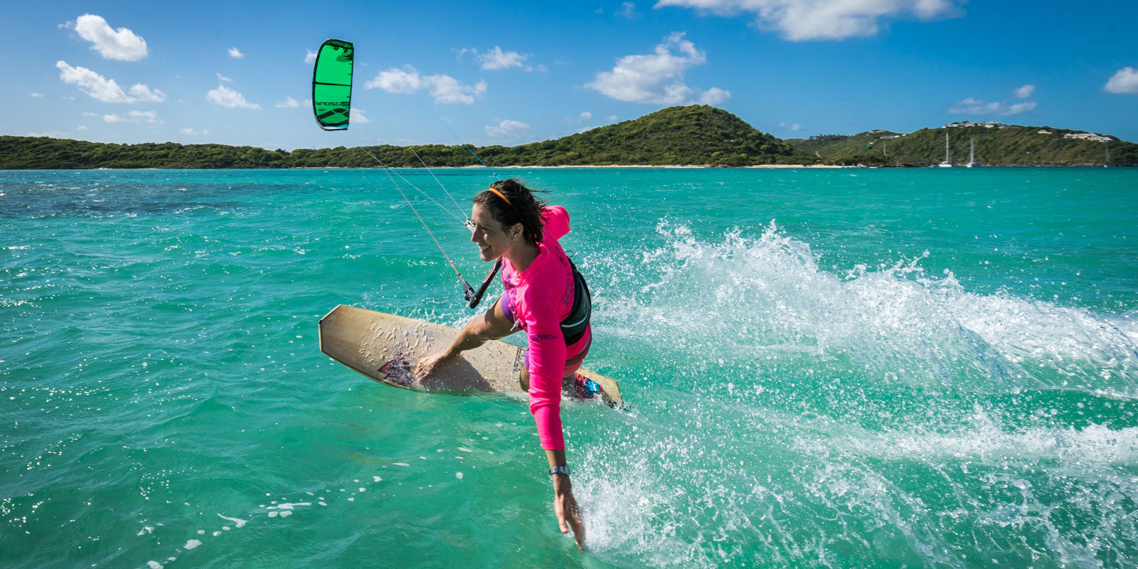 kitesurfing at green island in Antigua