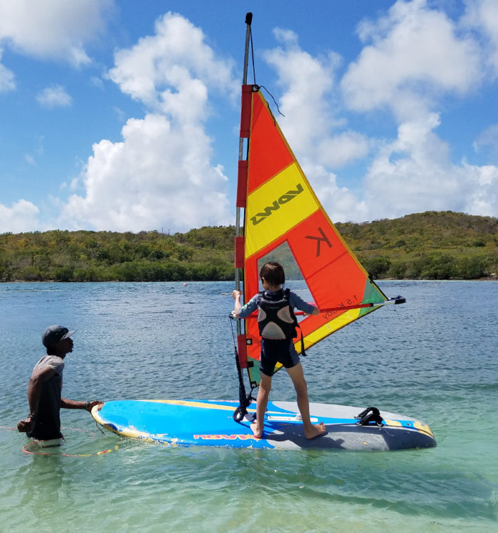 windsurf test lesson for kids in the caribbean